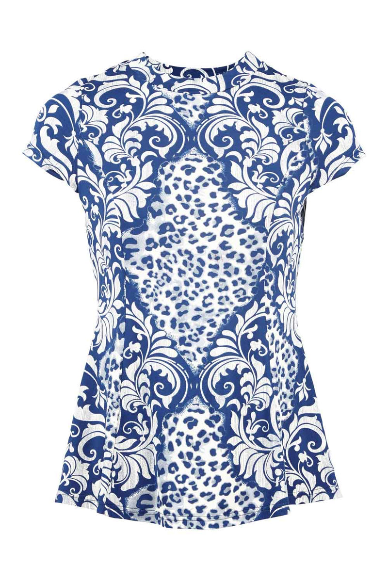 Blue | Animal Print Curved Hem Top
