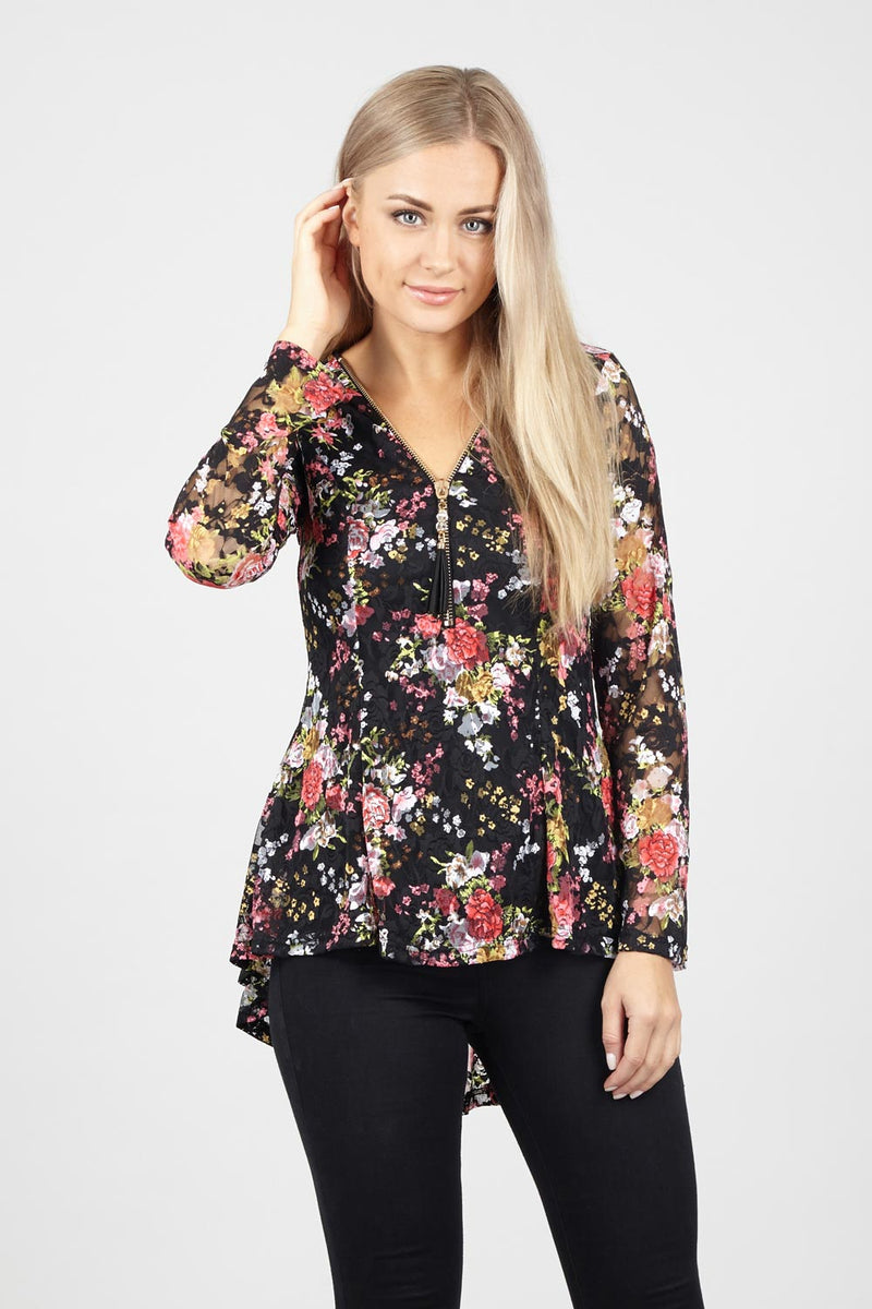 Black | Lace Peplum Floral Top | Izabel London