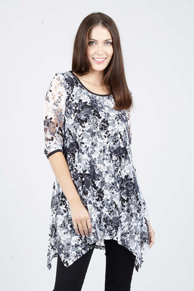 Floral Hanky Hem Top - Izabel London