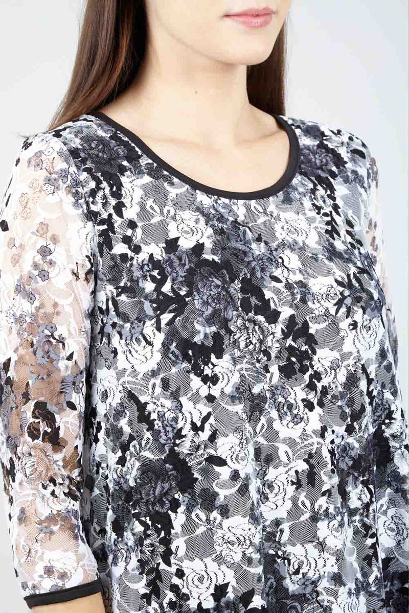 Black | Floral Hanky Hem Top