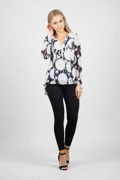 Mosaic Sheer Sleeve Top - Izabel London