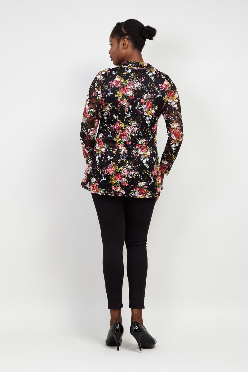 Curve Floral Roll Neck Lace Top - Izabel London