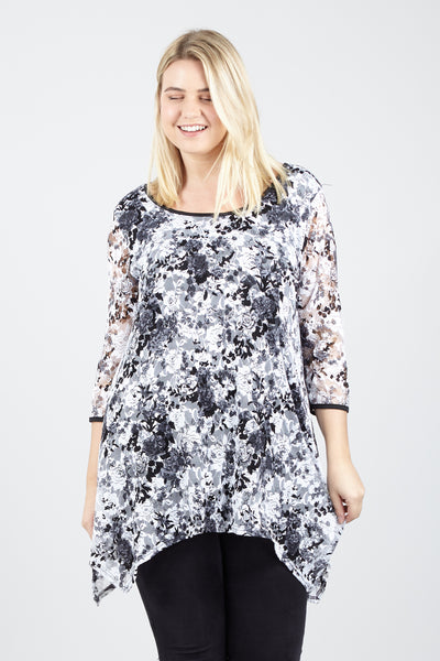 Curve Floral Lace Overlay Top - Izabel London
