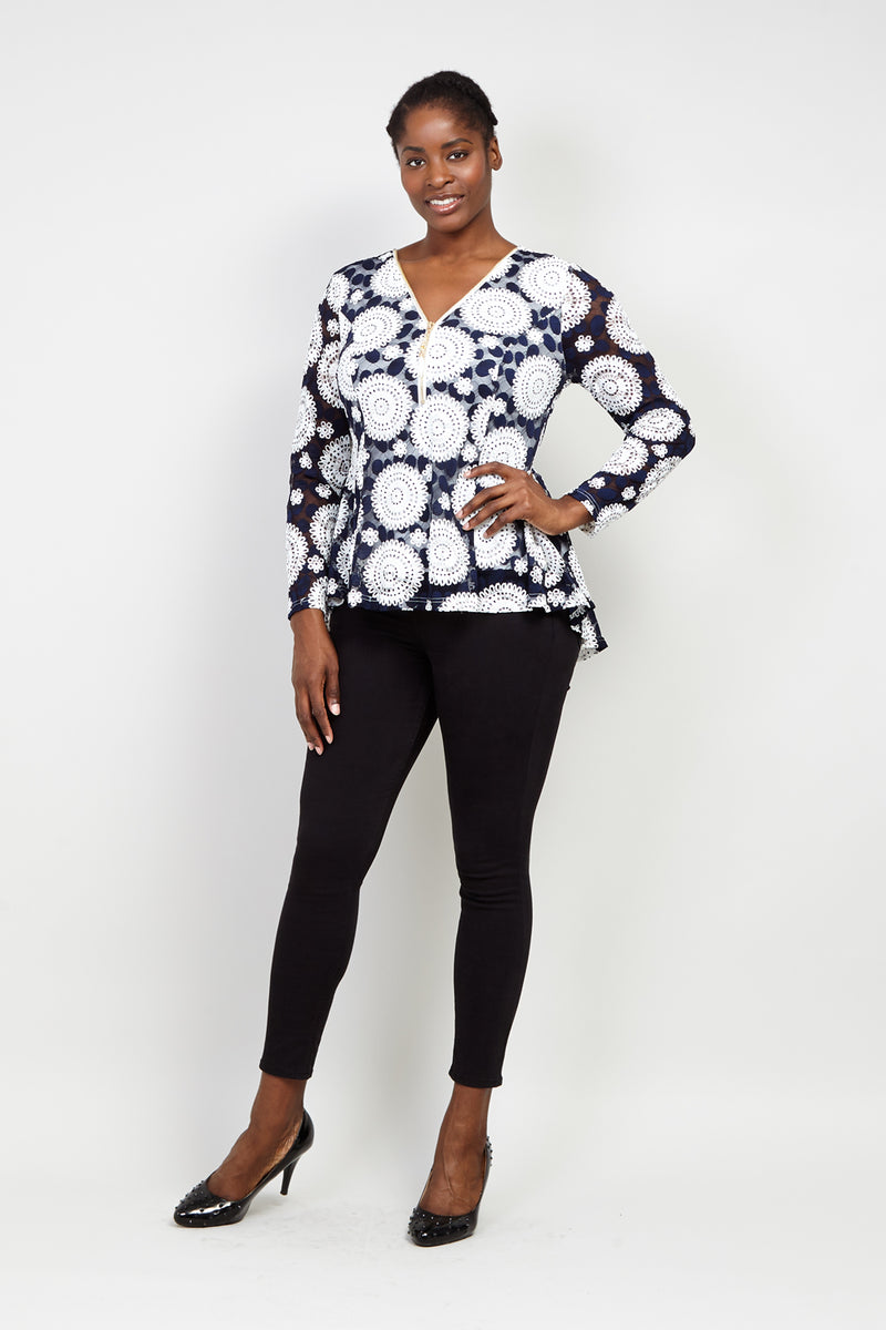 Curve Mosaic Zip Neck Top - Izabel London