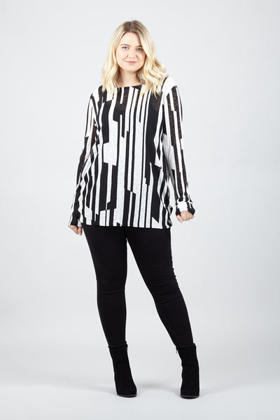 Curve Abstract Stripe Knit Top - Izabel London