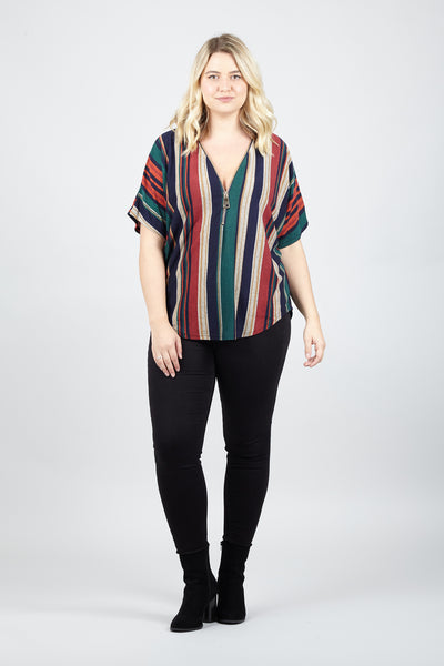 Curve Stripe Zip Neck Top - Izabel London