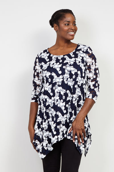 Curve Floral Lace Tunic Top - Izabel London