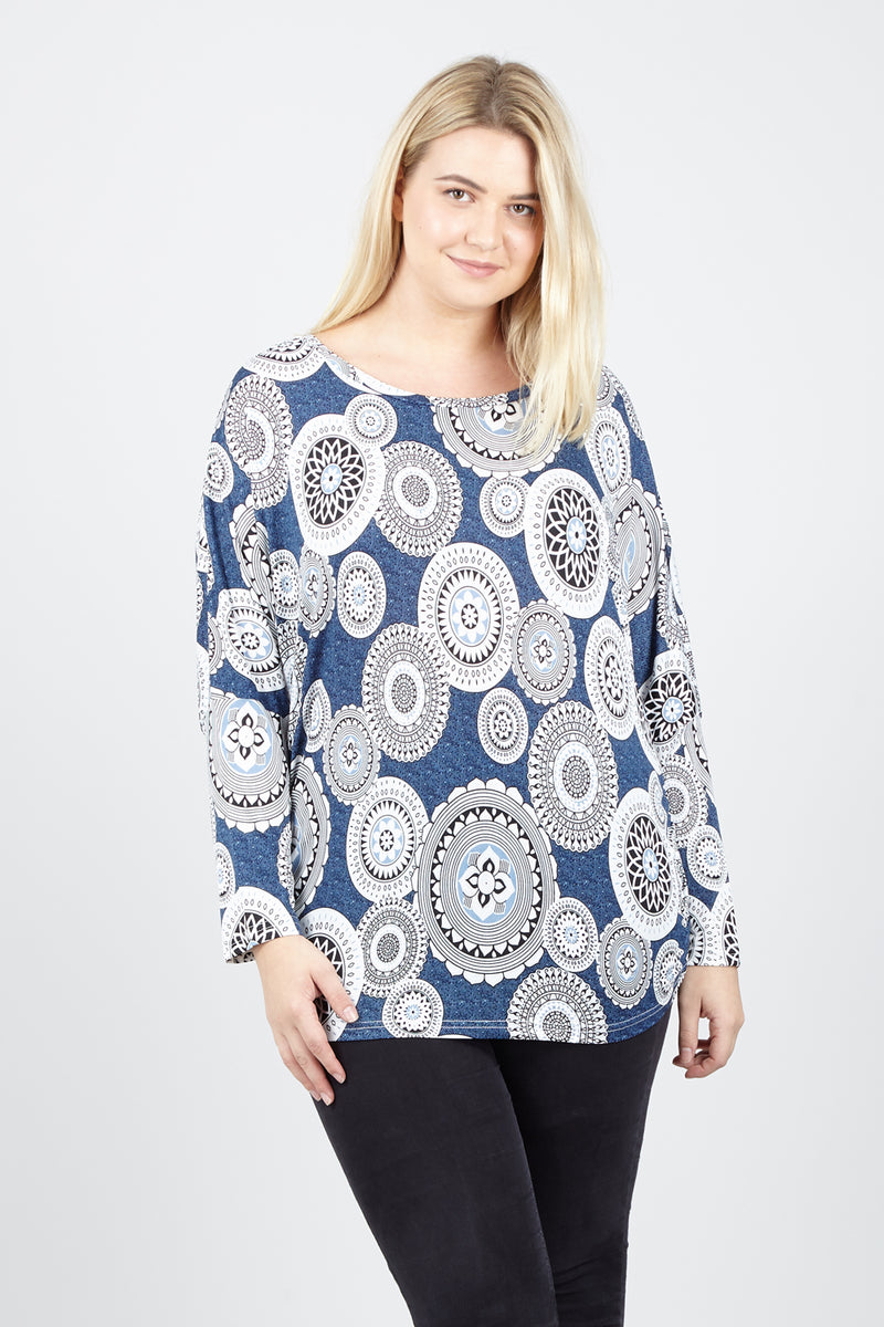 Curve Mosaic Print Sweater - Izabel London