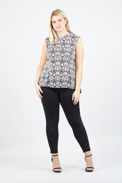 | Curve Damask Peplum Top | Izabel London