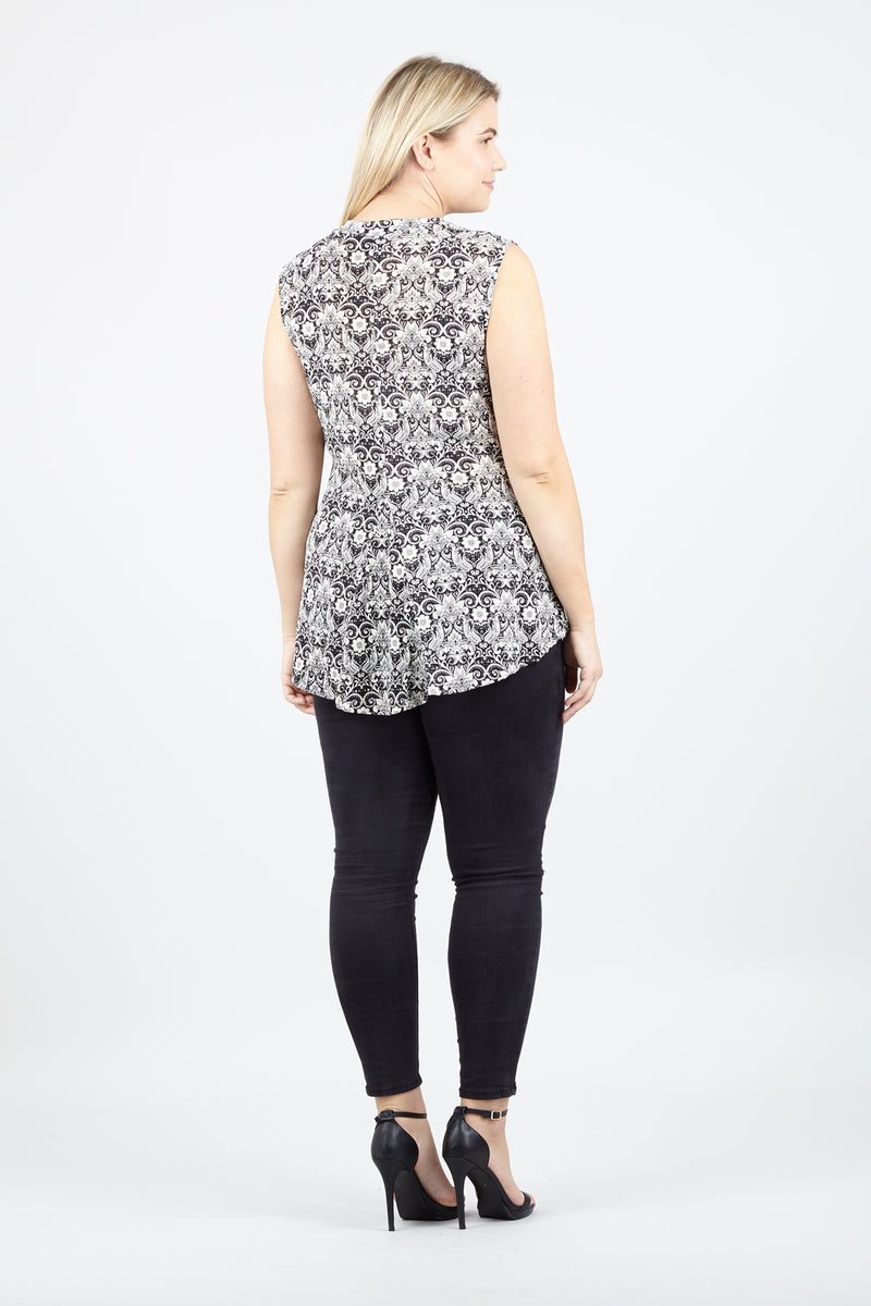 Curve Damask Peplum Top - Izabel London