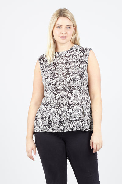 Black | Curve Damask Peplum Top | Izabel London