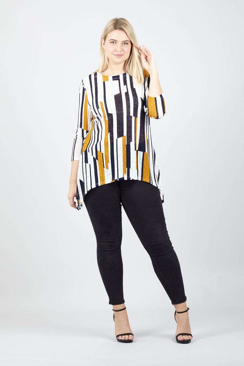 Yellow | Curve Abstract Striped Knit Top