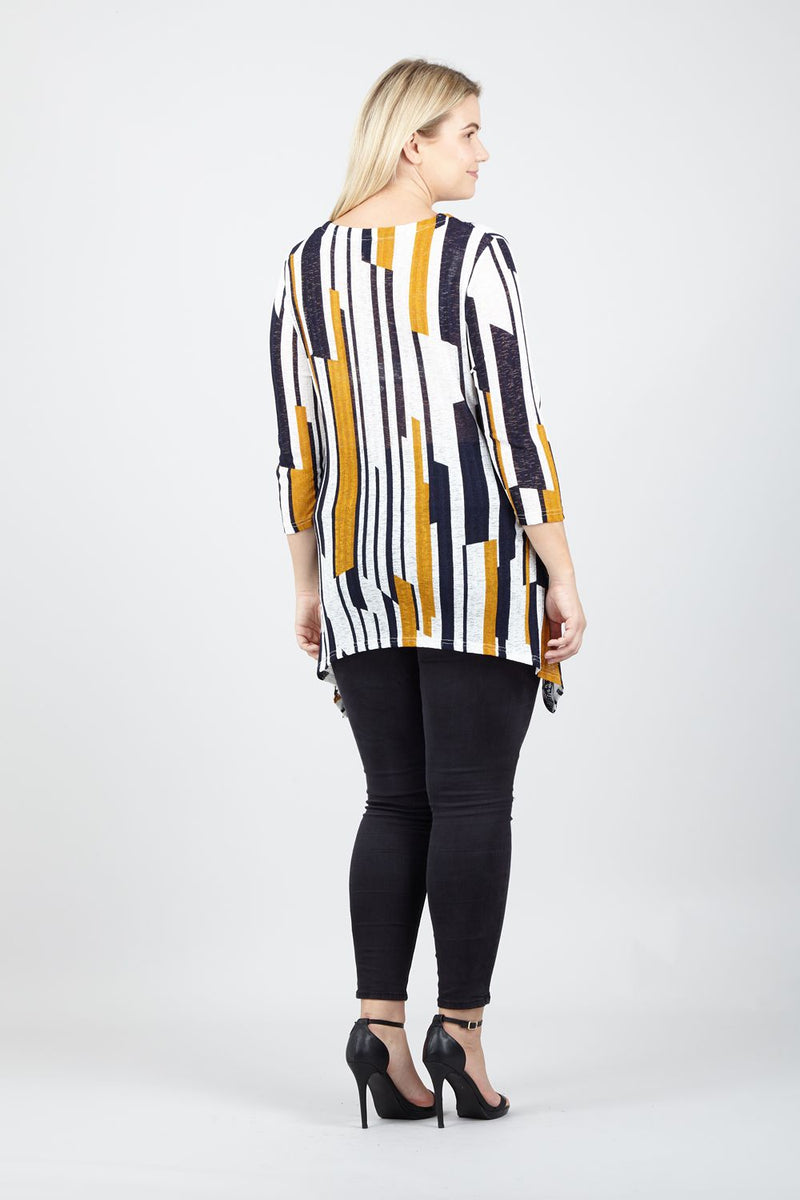 Curve Abstract Striped Knit Top - Izabel London
