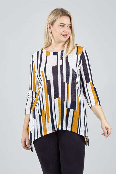 Yellow | Curve Abstract Striped Knit Top | Izabel London