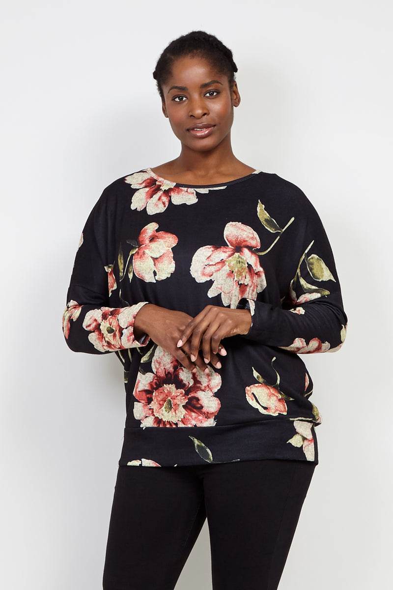 Curve Floral Pullover Top - Izabel London