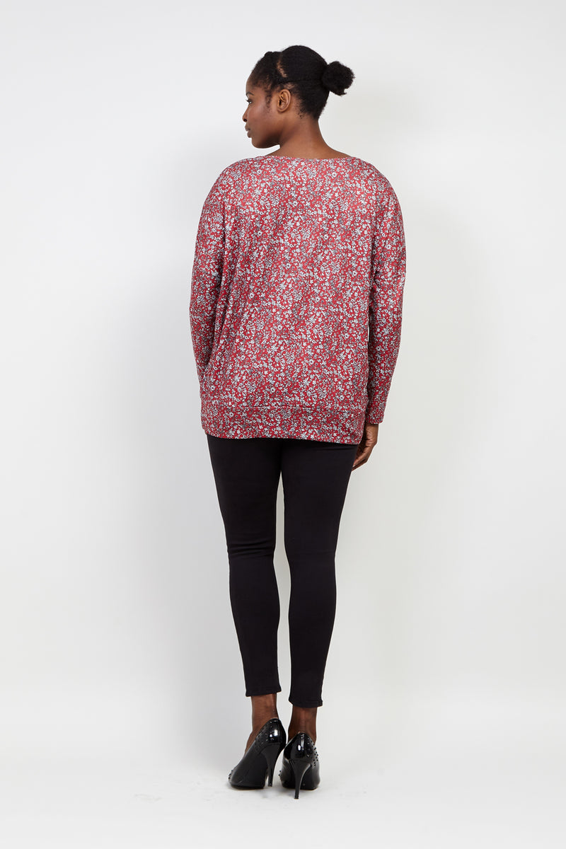 Red | Curve Ditsy Floral Slouchy Top