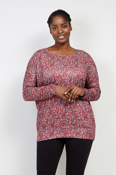 Curve Ditsy Floral Slouchy Top - Izabel London
