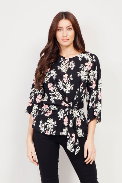 Floral Tie Waist Blouse - Izabel London