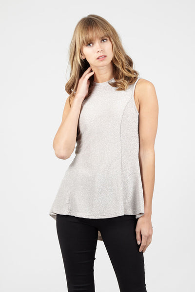 High Neck Sparkly Peplum Top - Izabel London