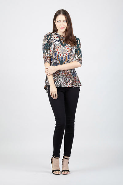 Peacock Print High Low Top - Izabel London