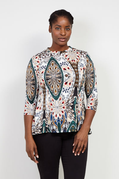 Curve Peacock Print Peplum Top - Izabel London