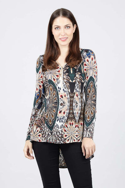 Peacock Print Zip Front Top - Izabel London