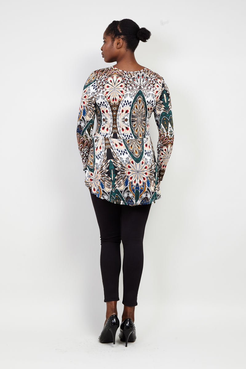 Curve Peacock Peplum Top - Izabel London