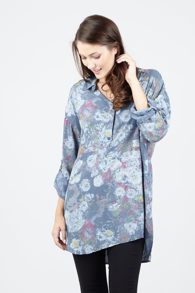 Floral Button Front Blouse - Izabel London