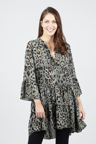 Animal Print Smock Top - Izabel London