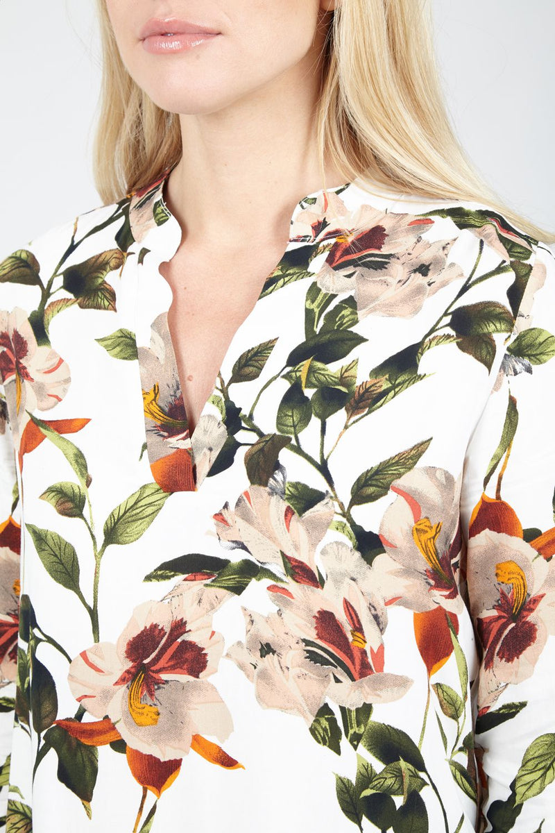 Spring Floral Collarless Blouse - Izabel London