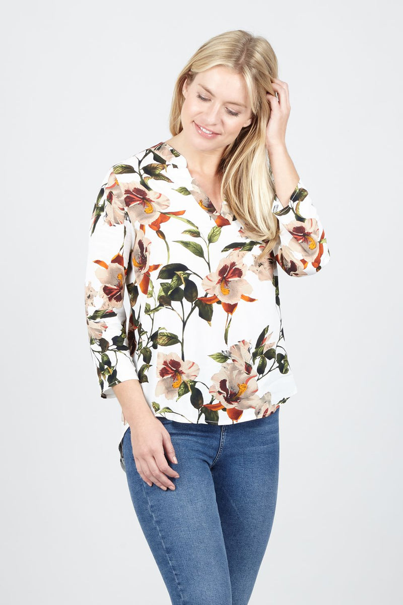 White | Spring Floral Collarless Blouse