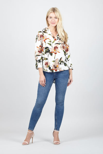 Spring Floral Collarless Blouse