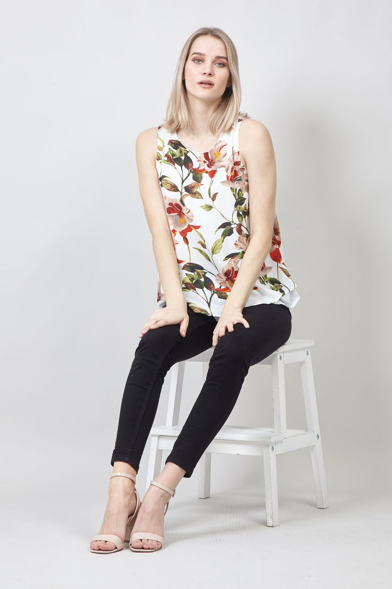 White | Floral Print Layered Vest