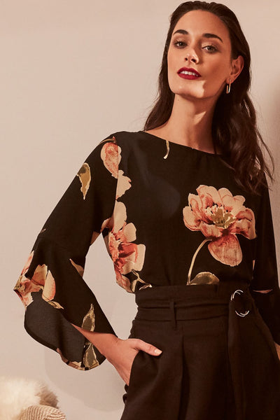 Black | Floral Frill Sleeve Blouse