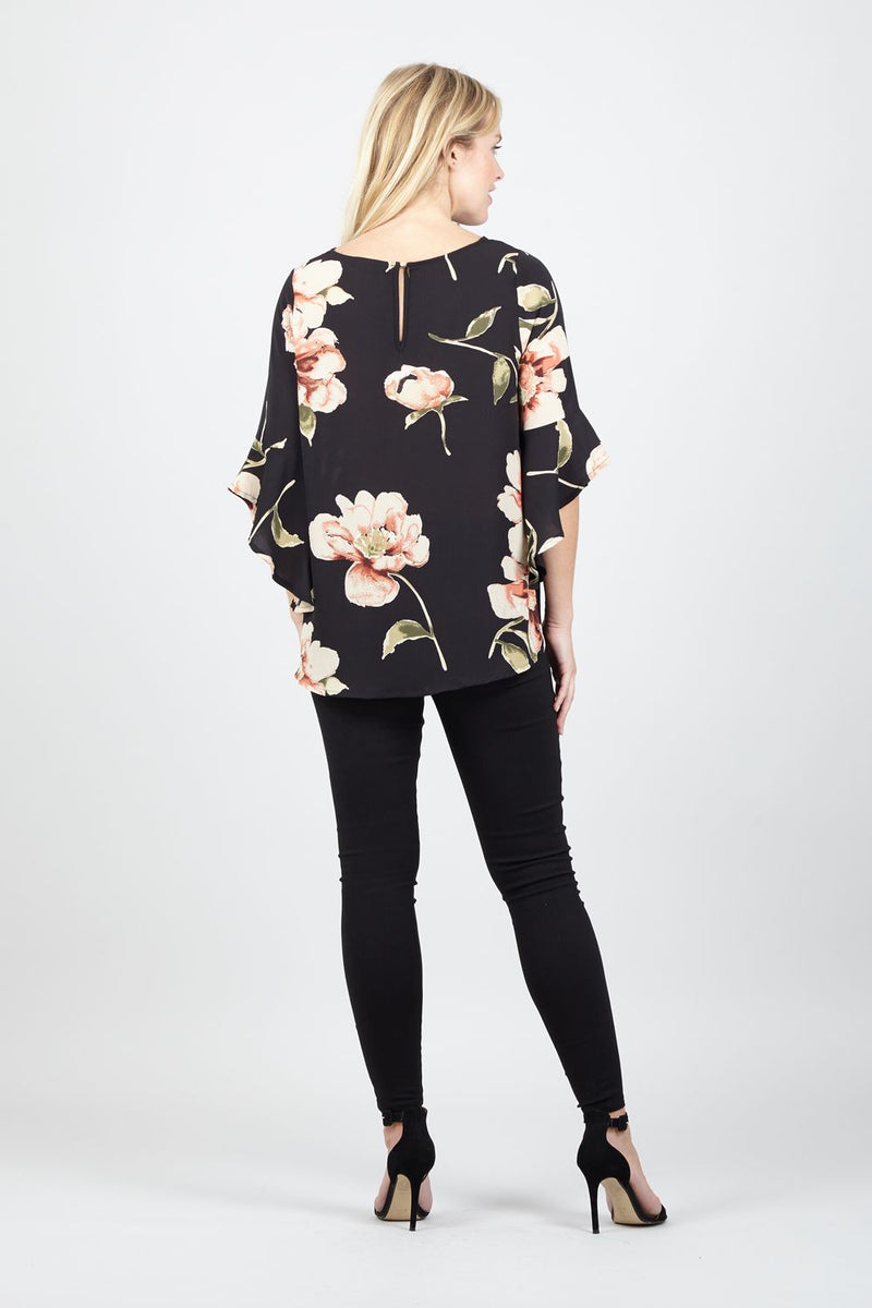 Floral Frill Sleeve Blouse - Izabel London