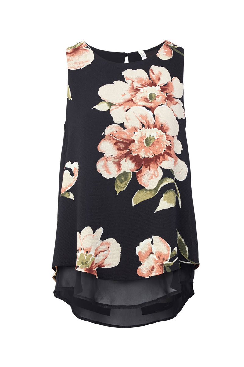Black | Floral Print Layered Hem Vest