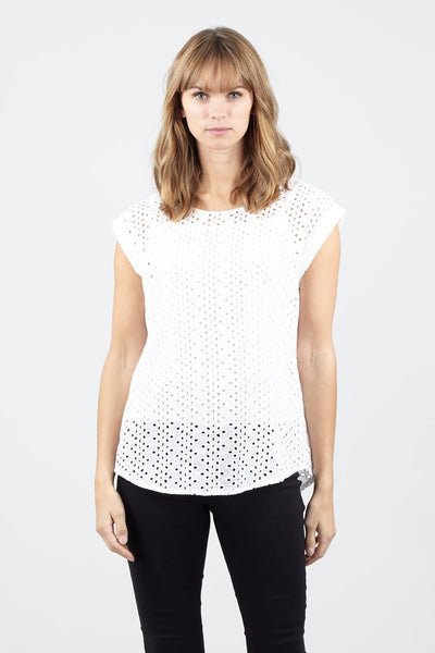 White | Laser Cut Detail Top