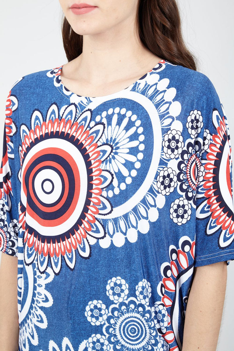 Blue | Mosaic Print Drop Shoulder Top
