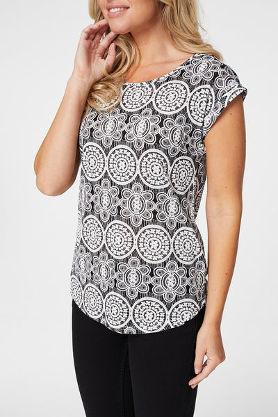 Mosaic Print Tee - Izabel London