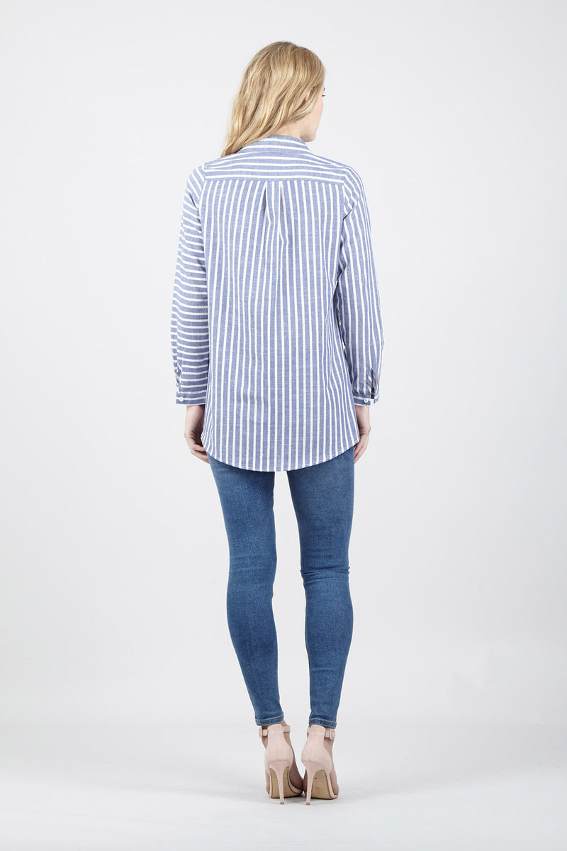 Blue | Striped Button Front Shirt