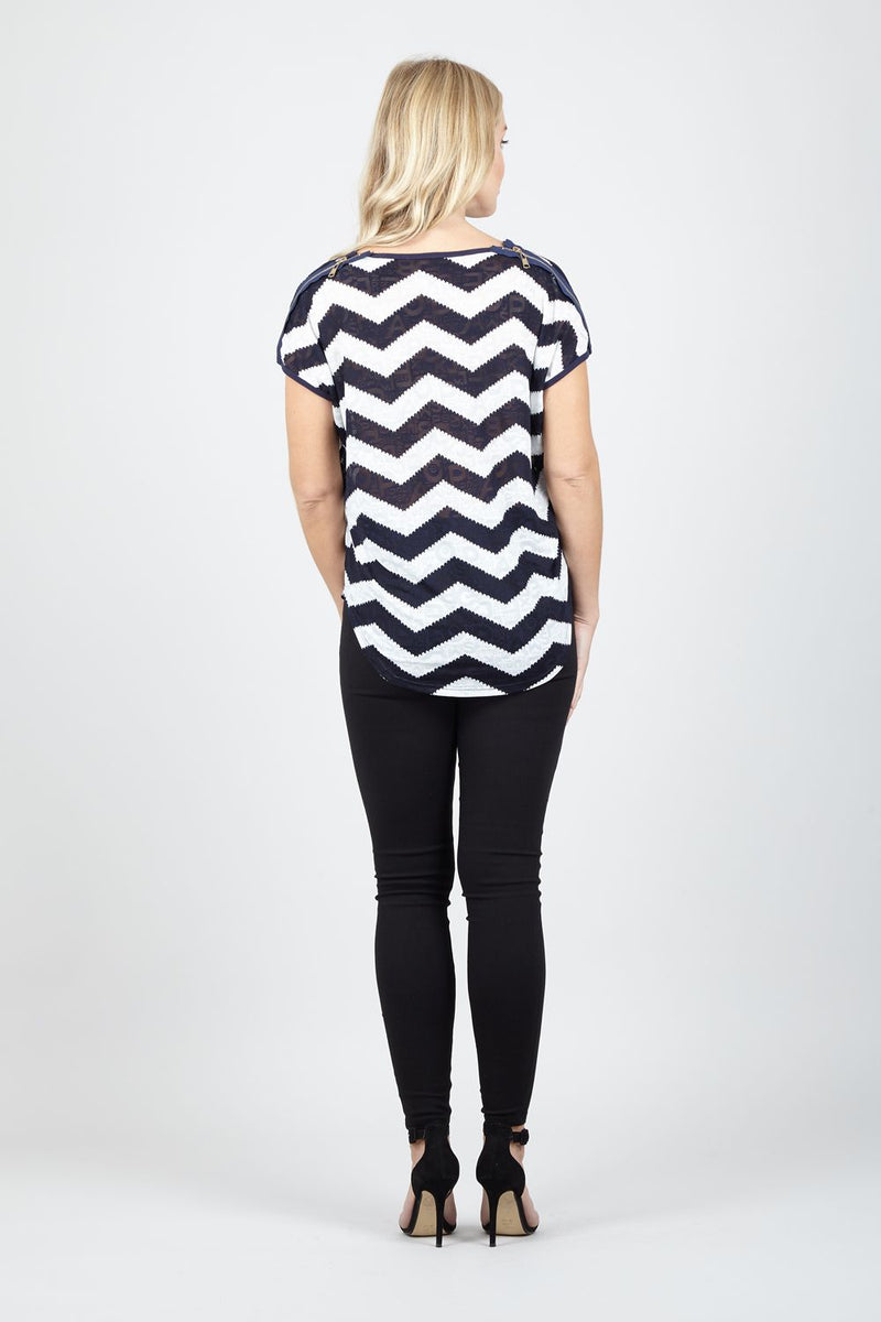 Navy | Zig Zag Drop Shoulder Top