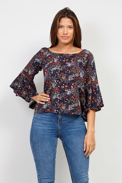 | Ditsy Floral Frill Sleeve Top | Izabel London
