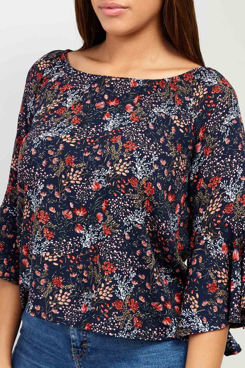 Navy | Ditsy Floral Frill Sleeve Top
