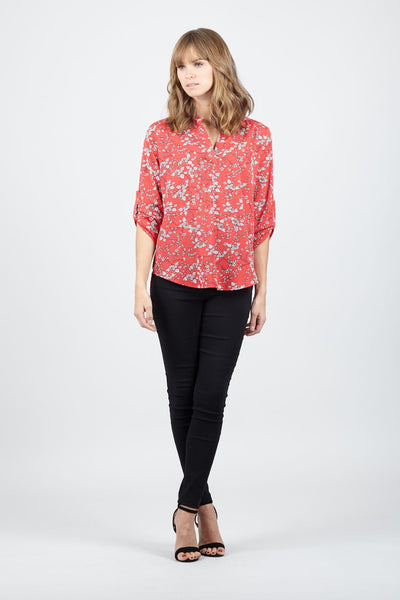 | Ditsy Floral Collarless Blouse | Izabel London