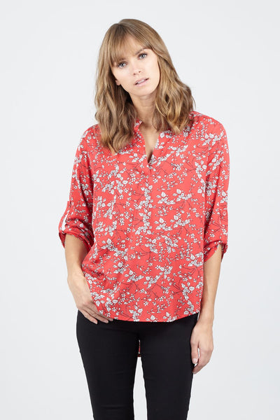 Red | Ditsy Floral Collarless Blouse | Izabel London