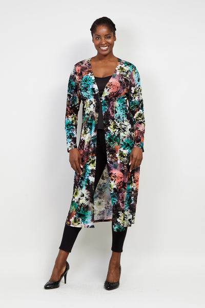Curve Blurred Floral Longline Top - Izabel London