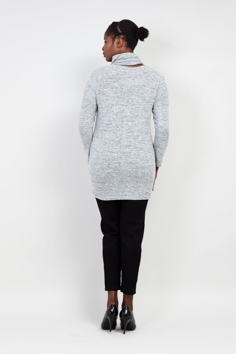 Grey | Curve Knitted Jersey Top