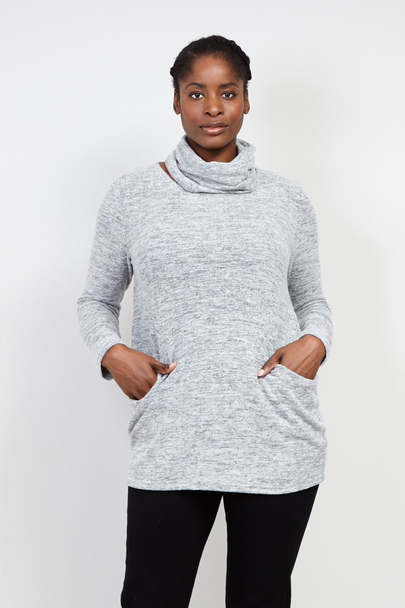 Grey | Curve Knitted Jersey Top | Izabel London