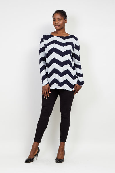 Curve Zig Zag Longline Swing Top - Izabel London
