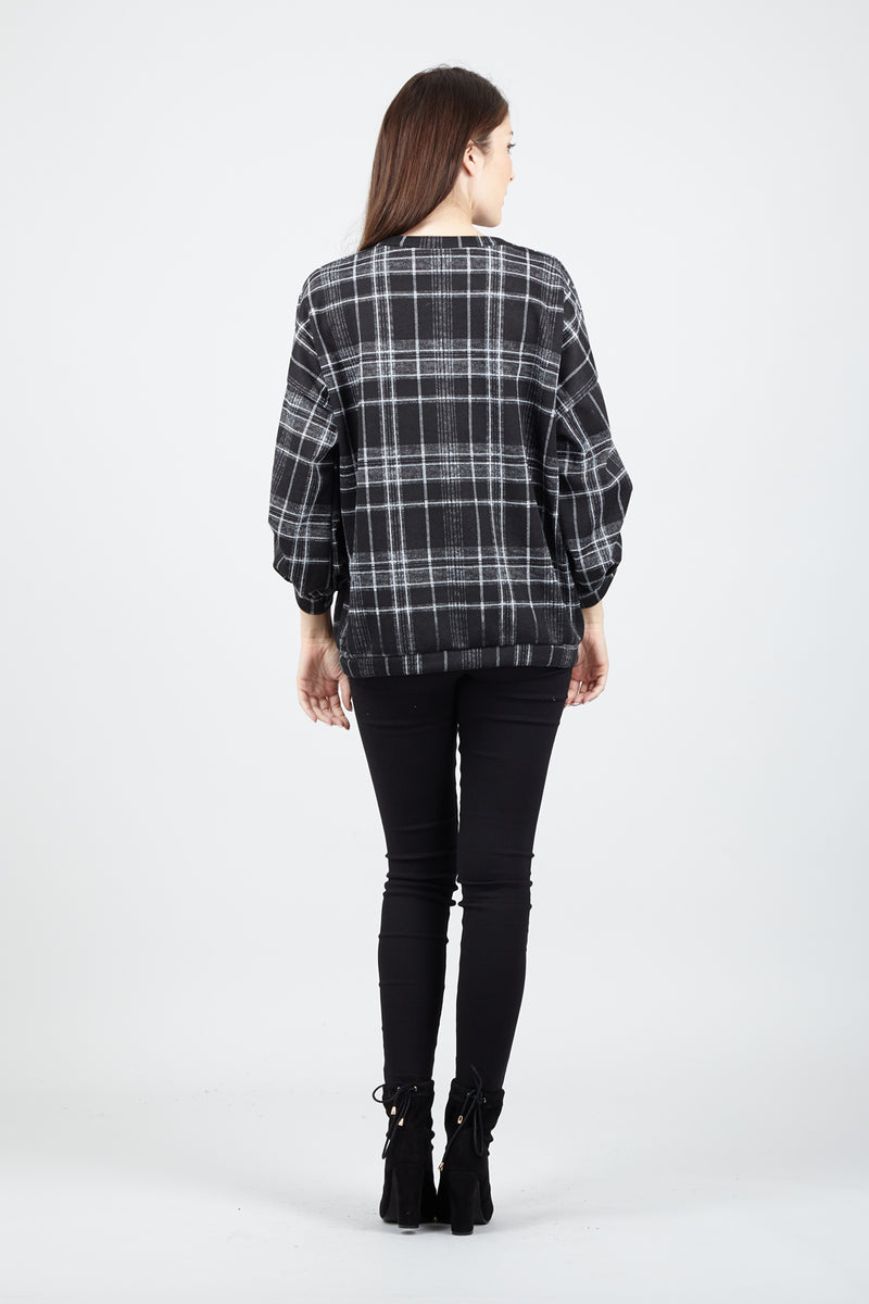 Black | Checked Ruched Sleeve Top
